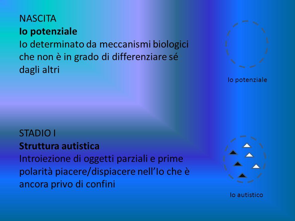 NASCITA Io potenziale Io determinato da meccanismi biologici che non è in grado di differenziare sé dagli altri STADIO I Struttura autistica Introiezi