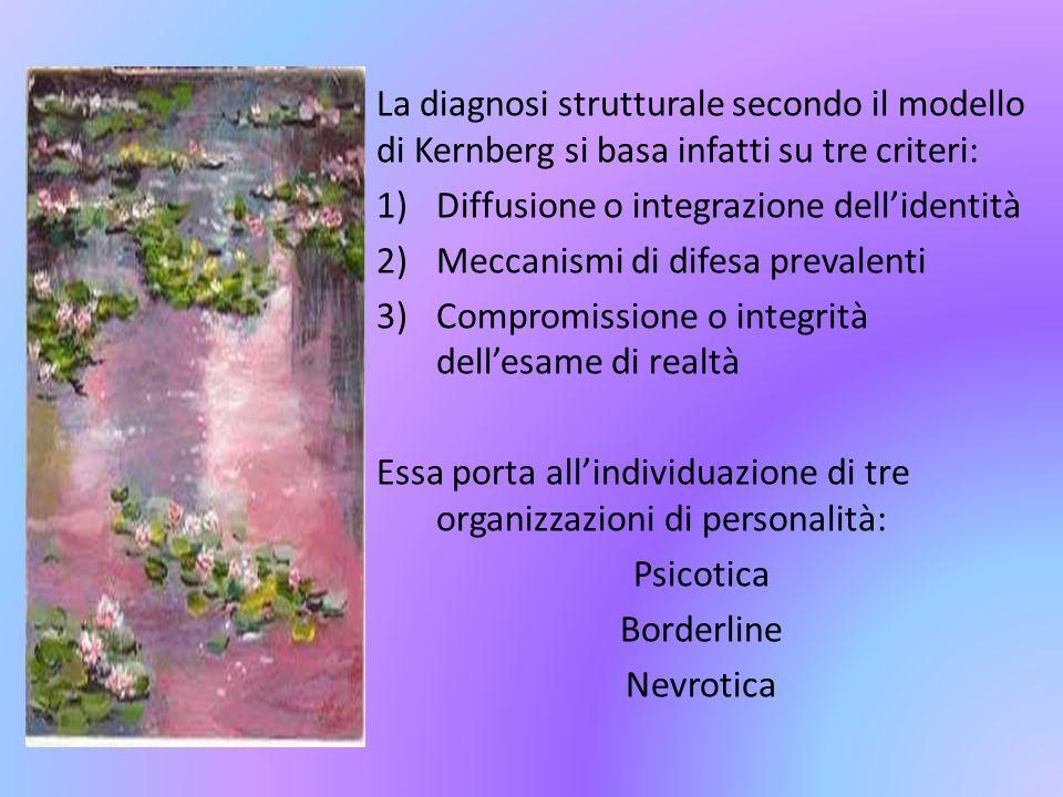 La diagnosi strutturale secondo il modello di Kernberg si basa infatti su tre criteri: 1)Diffusione o integrazione dellidentità 2)Meccanismi di difesa