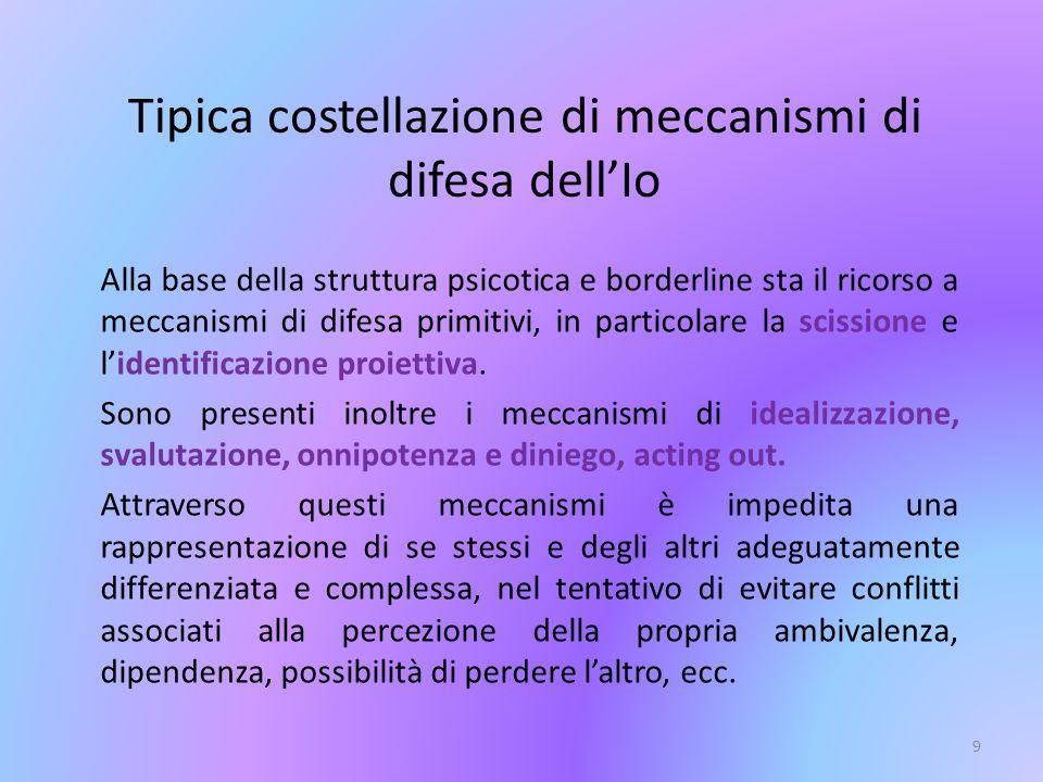 9 Alla base della struttura psicotica e borderline sta il ricorso a meccanismi di difesa primitivi, in particolare la scissione e lidentificazione pro
