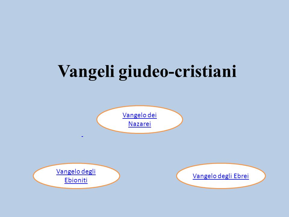 I 3 vangeli detti giudeo-cristiani, in uso tra i cristiani dei primi secoli rimasti legati alla tradizione religiosa giudaica, sono andati perduti.