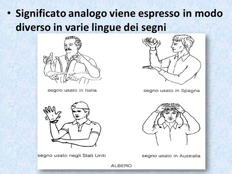 Significato analogo viene espresso in modo diverso in varie lingue dei segni