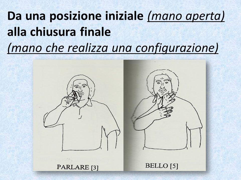 Da una posizione iniziale (mano aperta) alla chiusura finale (mano che realizza una configurazione)