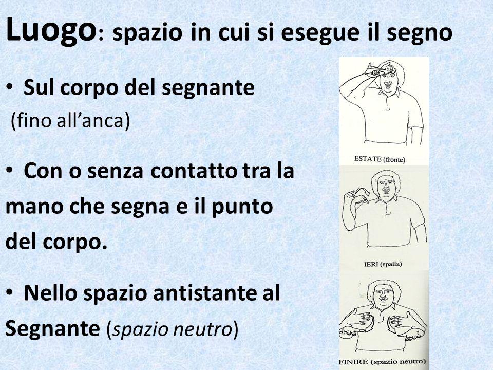 Luogo : spazio in cui si esegue il segno Sul corpo del segnante (fino allanca) Con o senza contatto tra la mano che segna e il punto del corpo. Nello