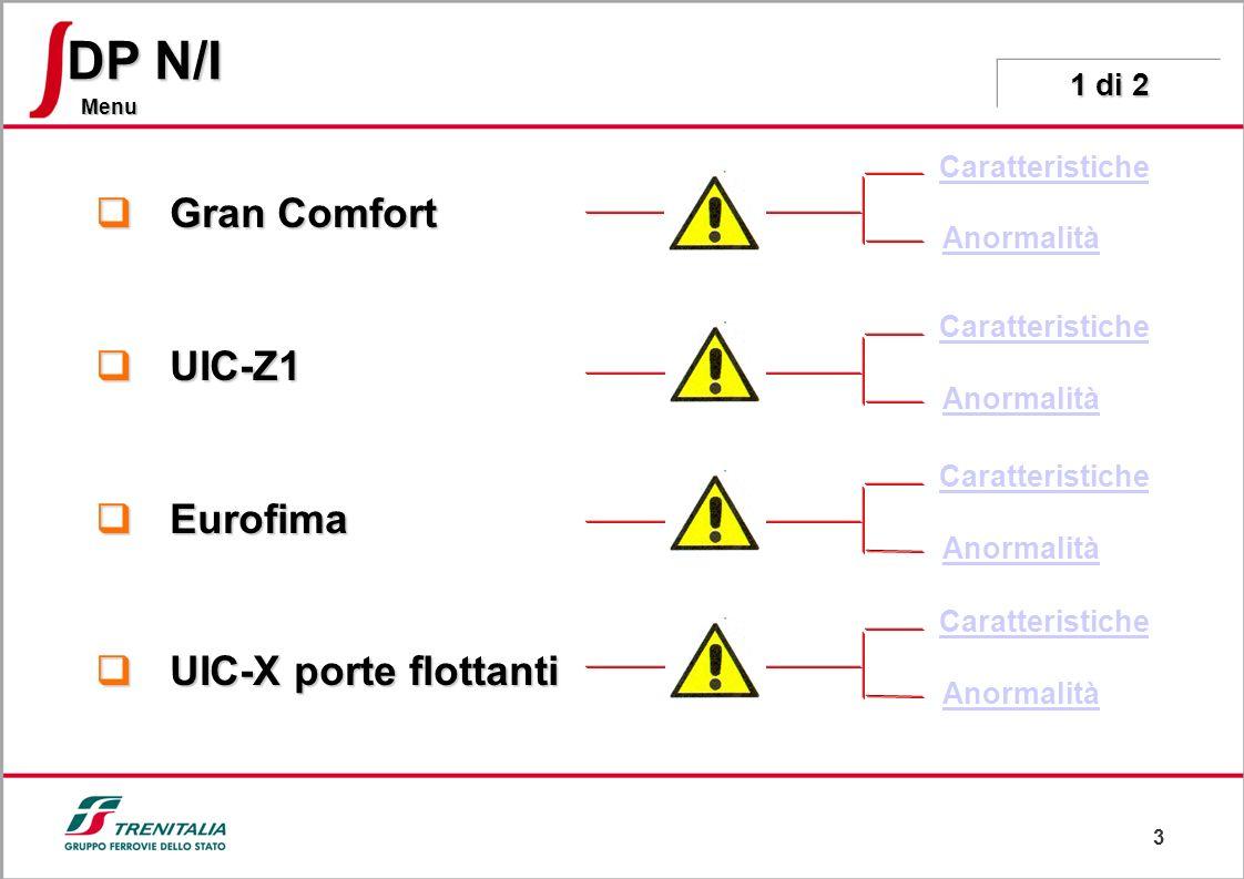 3 Menu DP N/I Gran Comfort Gran Comfort UIC-Z1 UIC-Z1 Eurofima Eurofima UIC-X porte flottanti UIC-X porte flottanti Caratteristiche Anormalità Caratteristiche Anormalità Caratteristiche Anormalità Caratteristiche Anormalità 1 di 2