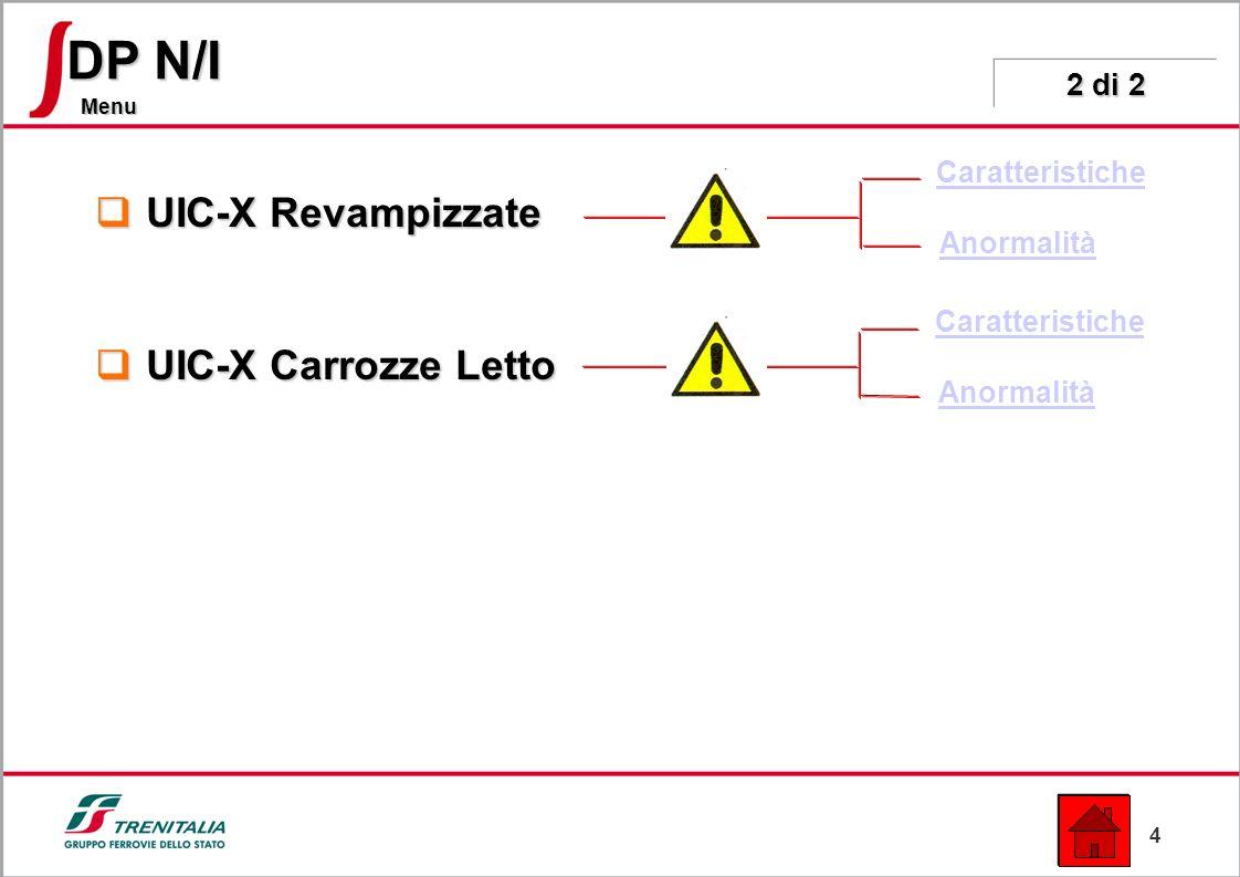 4 Menu DP N/I UIC-X Revampizzate UIC-X Revampizzate UIC-X Carrozze Letto UIC-X Carrozze Letto Caratteristiche Anormalità 2 di 2 Caratteristiche Anormalità
