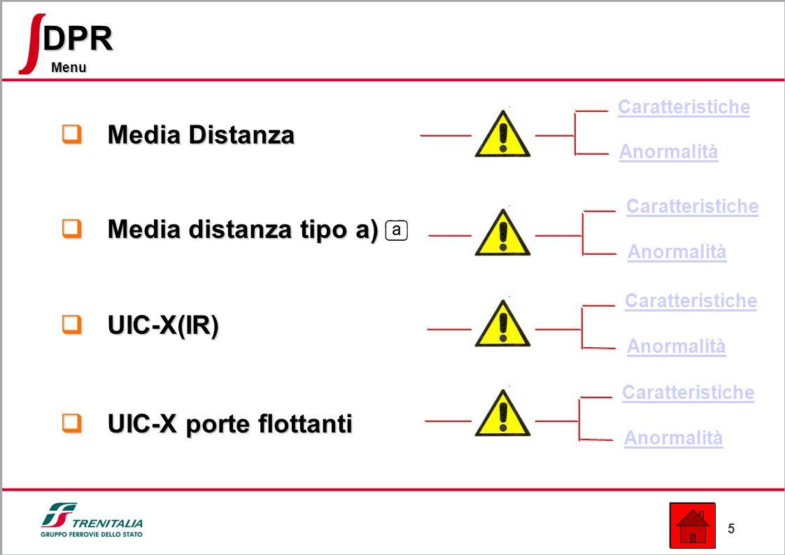 5 Menu DPR Media Distanza Media Distanza Media distanza tipo a) Media distanza tipo a) UIC-X(IR) UIC-X(IR) UIC-X porte flottanti UIC-X porte flottanti Caratteristiche Anormalità Caratteristiche Anormalità Caratteristiche Anormalità Caratteristiche Anormalità
