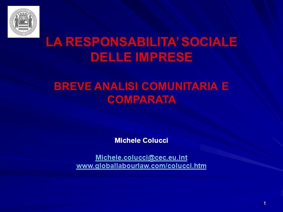 1 LA RESPONSABILITA SOCIALE DELLE IMPRESE BREVE ANALISI COMUNITARIA E COMPARATA Michele Colucci Michele.colucci@cec.eu.int www.globallabourlaw.com/colucci.htm