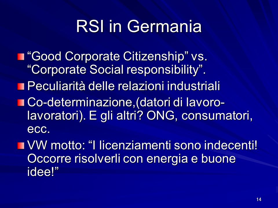 14 RSI in Germania Good Corporate Citizenship vs.Corporate Social responsibility.