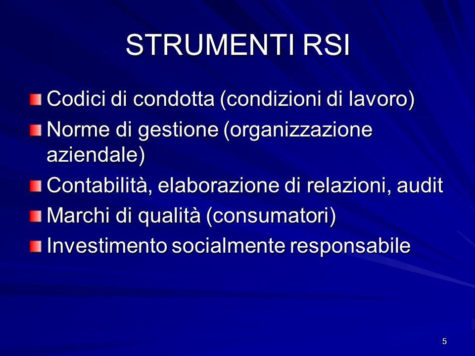 5 STRUMENTI RSI Codici di condotta (condizioni di lavoro) Norme di gestione (organizzazione aziendale) Contabilità, elaborazione di relazioni, audit Marchi di qualità (consumatori) Investimento socialmente responsabile