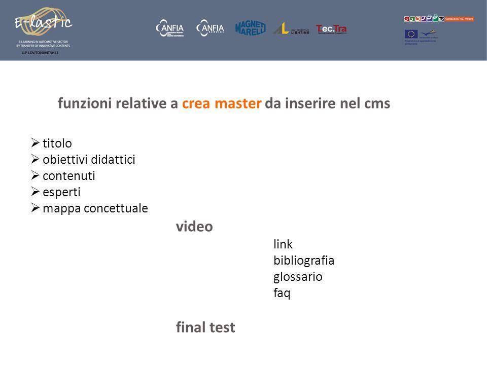 funzioni relative a crea master da inserire nel cms titolo obiettivi didattici contenuti esperti mappa concettuale video link bibliografia glossario faq final test