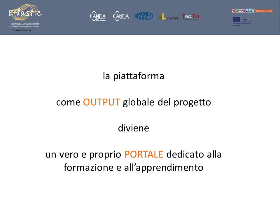 la piattaforma come OUTPUT globale del progetto diviene un vero e proprio PORTALE dedicato alla formazione e allapprendimento