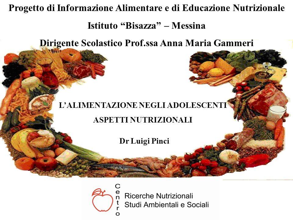 LALIMENTAZIONE NEGLI ADOLESCENTI ASPETTI NUTRIZIONALI Progetto di Informazione Alimentare e di Educazione Nutrizionale Istituto Bisazza – Messina Diri