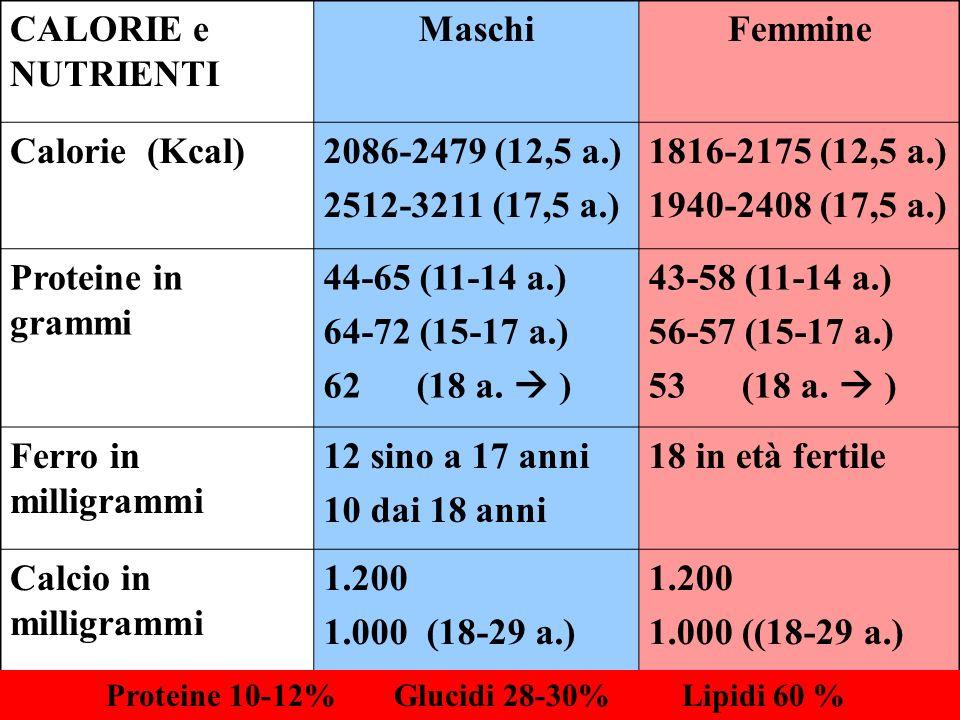 CALORIE e NUTRIENTI MaschiFemmine Calorie (Kcal)2086-2479 (12,5 a.) 2512-3211 (17,5 a.) 1816-2175 (12,5 a.) 1940-2408 (17,5 a.) Proteine in grammi 44-