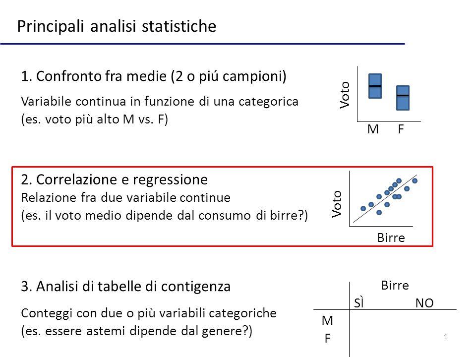 1 Principali analisi statistiche 1.Confronto fra medie (2 o piú campioni) 2.