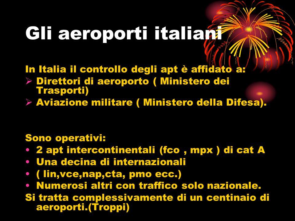 Gli aeroporti italiani In Italia il controllo degli apt è affidato a: Direttori di aeroporto ( Ministero dei Trasporti) Aviazione militare ( Ministero