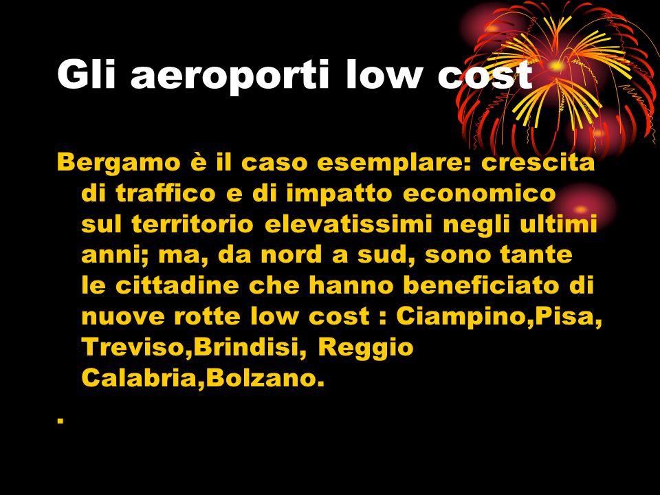 Gli aeroporti low cost Bergamo è il caso esemplare: crescita di traffico e di impatto economico sul territorio elevatissimi negli ultimi anni; ma, da