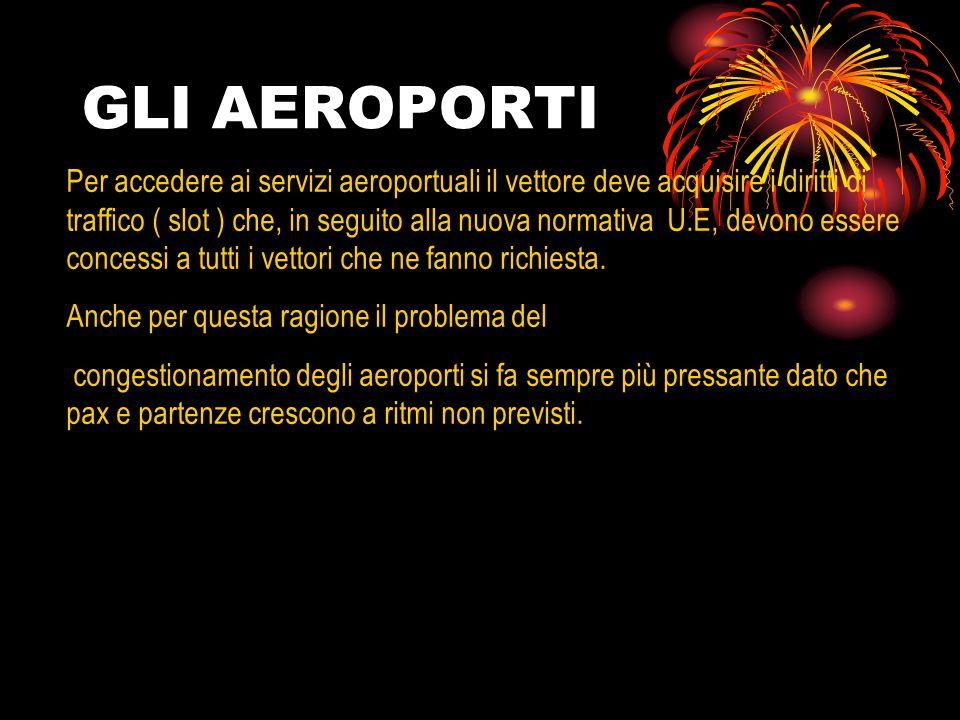 GLI AEROPORTI Per accedere ai servizi aeroportuali il vettore deve acquisire i diritti di traffico ( slot ) che, in seguito alla nuova normativa U.E,