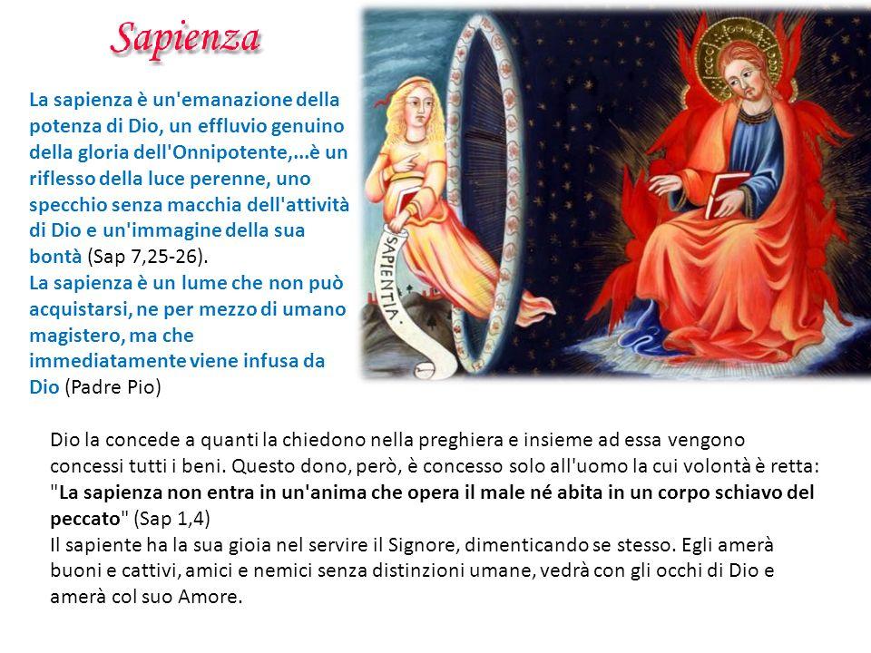 La sapienza è un'emanazione della potenza di Dio, un effluvio genuino della gloria dell'Onnipotente,...è un riflesso della luce perenne, uno specchio