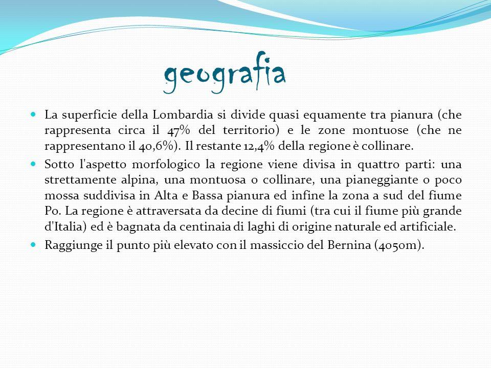 geografia La superficie della Lombardia si divide quasi equamente tra pianura (che rappresenta circa il 47% del territorio) e le zone montuose (che ne rappresentano il 40,6%).