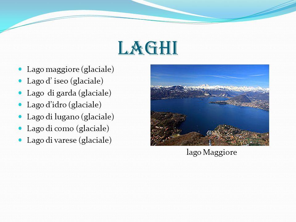 laghi Lago maggiore (glaciale) Lago d iseo (glaciale) Lago di garda (glaciale) Lago didro (glaciale) Lago di lugano (glaciale) Lago di como (glaciale) Lago di varese (glaciale) lago Maggiore