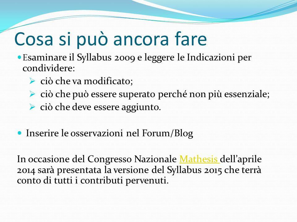 Cosa si può ancora fare E saminare il Syllabus 2009 e leggere le Indicazioni per condividere: ciò che va modificato; ciò che può essere superato perché non più essenziale; ciò che deve essere aggiunto.