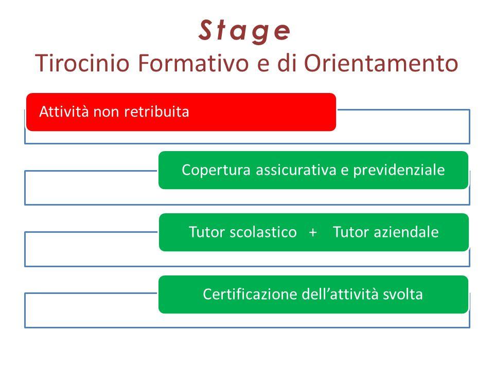 Stage Tirocinio Formativo e di Orientamento Attività non retribuitaCopertura assicurativa e previdenzialeTutor scolastico + Tutor aziendaleCertificazi