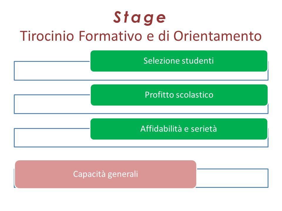 Stage Tirocinio Formativo e di Orientamento Selezione studentiProfitto scolasticoAffidabilità e serietà Capacità generali