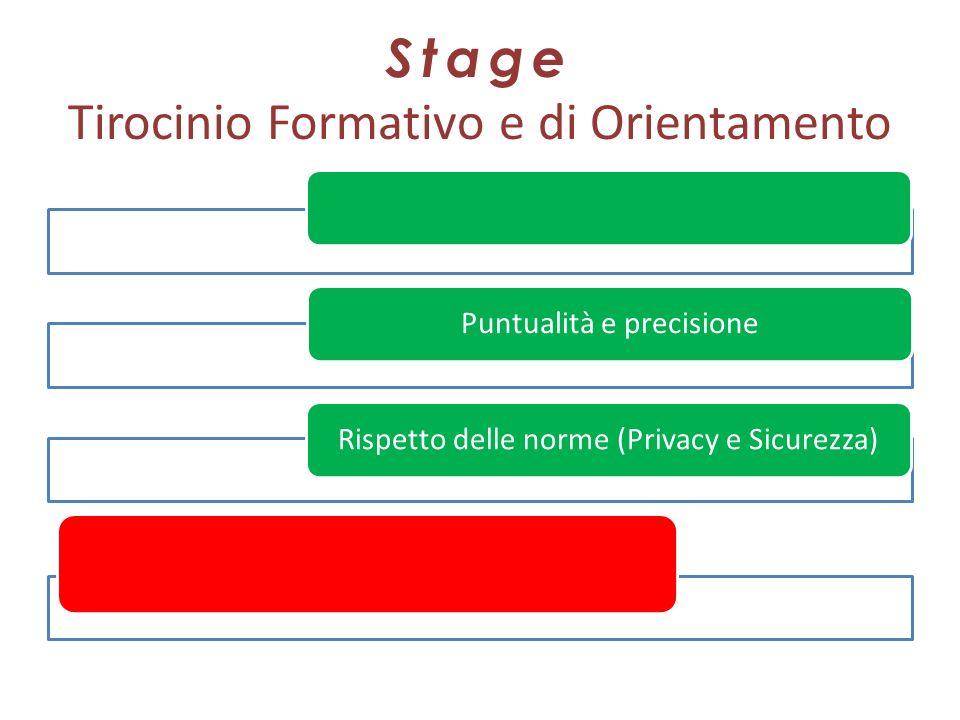 Stage Tirocinio Formativo e di Orientamento Puntualità e precisioneRispetto delle norme (Privacy e Sicurezza)