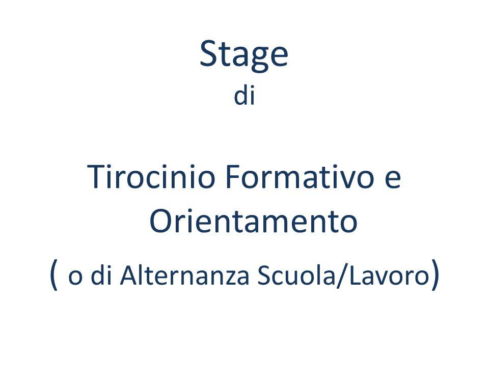 Stage di Tirocinio Formativo e Orientamento ( o di Alternanza Scuola/Lavoro )