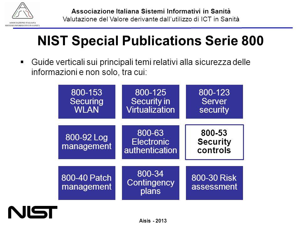 Aisis - 2013 Associazione Italiana Sistemi Informativi in Sanità Valutazione del Valore derivante dallutilizzo di ICT in Sanità NIST Special Publicati
