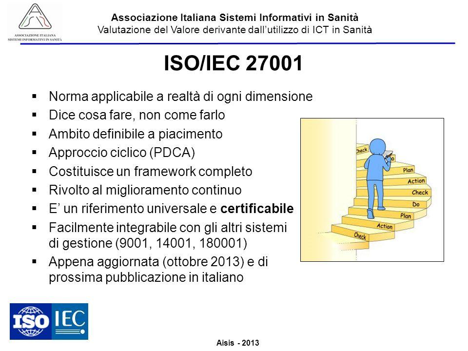 Aisis - 2013 Associazione Italiana Sistemi Informativi in Sanità Valutazione del Valore derivante dallutilizzo di ICT in Sanità ISO/IEC 27001 Norma ap