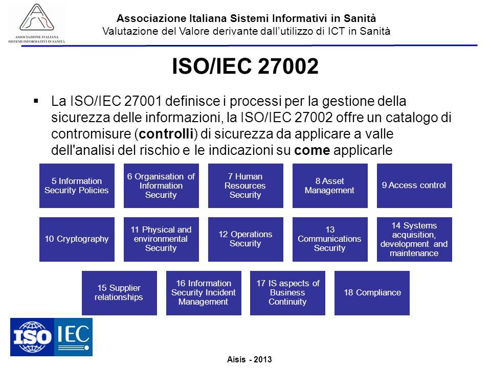 Aisis - 2013 Associazione Italiana Sistemi Informativi in Sanità Valutazione del Valore derivante dallutilizzo di ICT in Sanità ISO/IEC 27002 La ISO/I