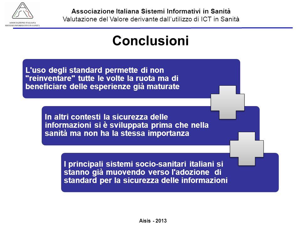 Aisis - 2013 Associazione Italiana Sistemi Informativi in Sanità Valutazione del Valore derivante dallutilizzo di ICT in Sanità Conclusioni L'uso degl