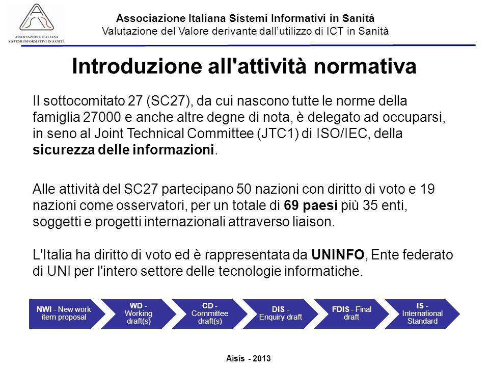 Aisis - 2013 Associazione Italiana Sistemi Informativi in Sanità Valutazione del Valore derivante dallutilizzo di ICT in Sanità Introduzione all'attiv