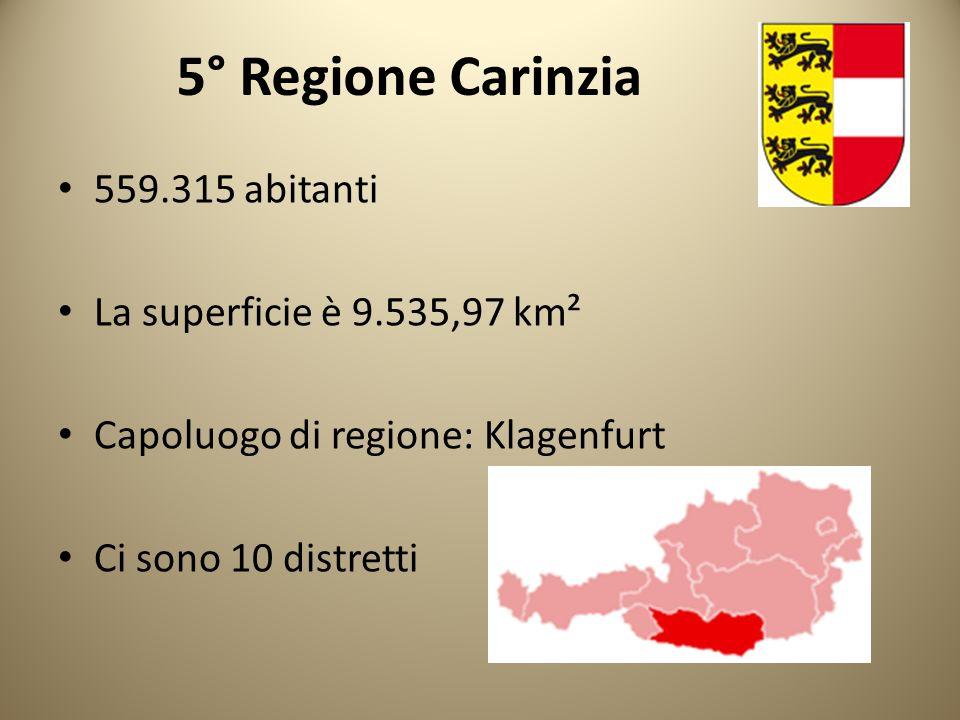 5° Regione Carinzia 559.315 abitanti La superficie è 9.535,97 km² Capoluogo di regione: Klagenfurt Ci sono 10 distretti