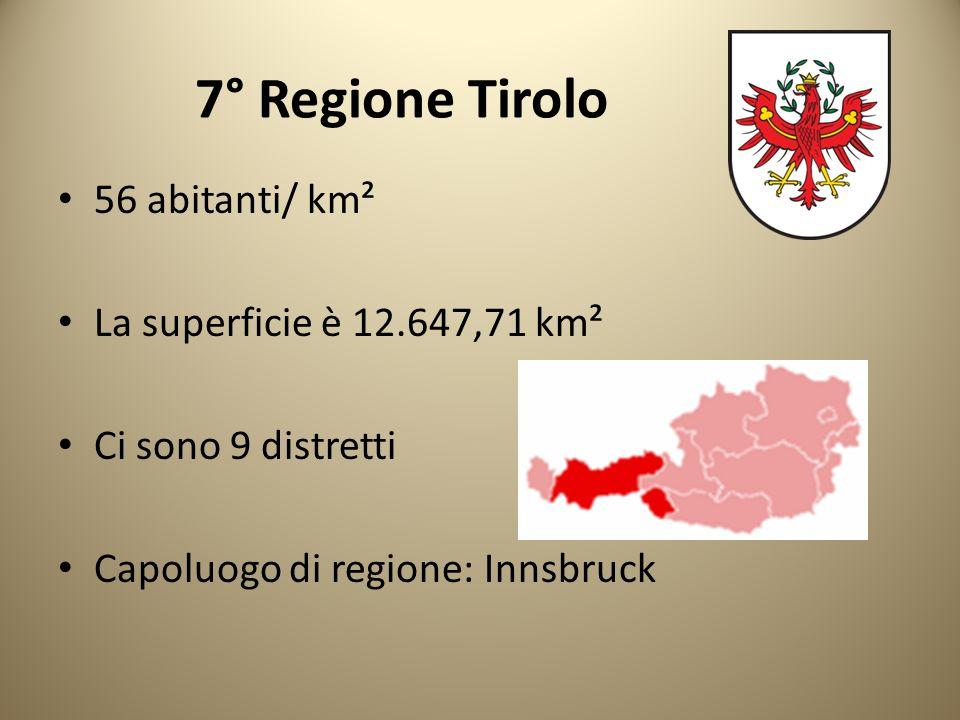 7° Regione Tirolo 56 abitanti/ km² La superficie è 12.647,71 km² Ci sono 9 distretti Capoluogo di regione: Innsbruck