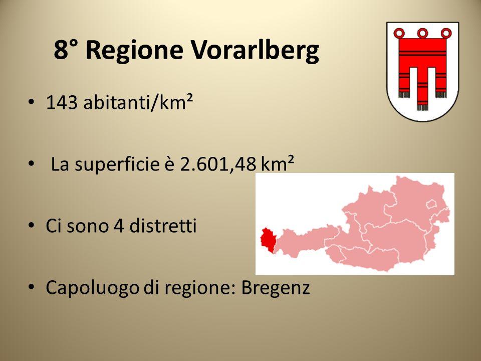 8° Regione Vorarlberg 143 abitanti/km² La superficie è 2.601,48 km² Ci sono 4 distretti Capoluogo di regione: Bregenz