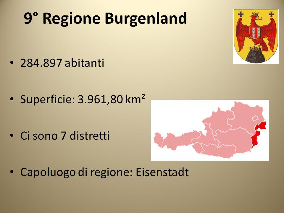 9° Regione Burgenland 284.897 abitanti Superficie: 3.961,80 km² Ci sono 7 distretti Capoluogo di regione: Eisenstadt