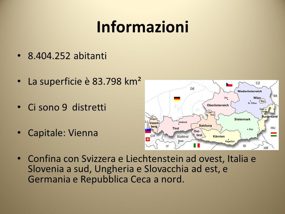 Informazioni 8.404.252 abitanti La superficie è 83.798 km² Ci sono 9 distretti Capitale: Vienna Confina con Svizzera e Liechtenstein ad ovest, Italia