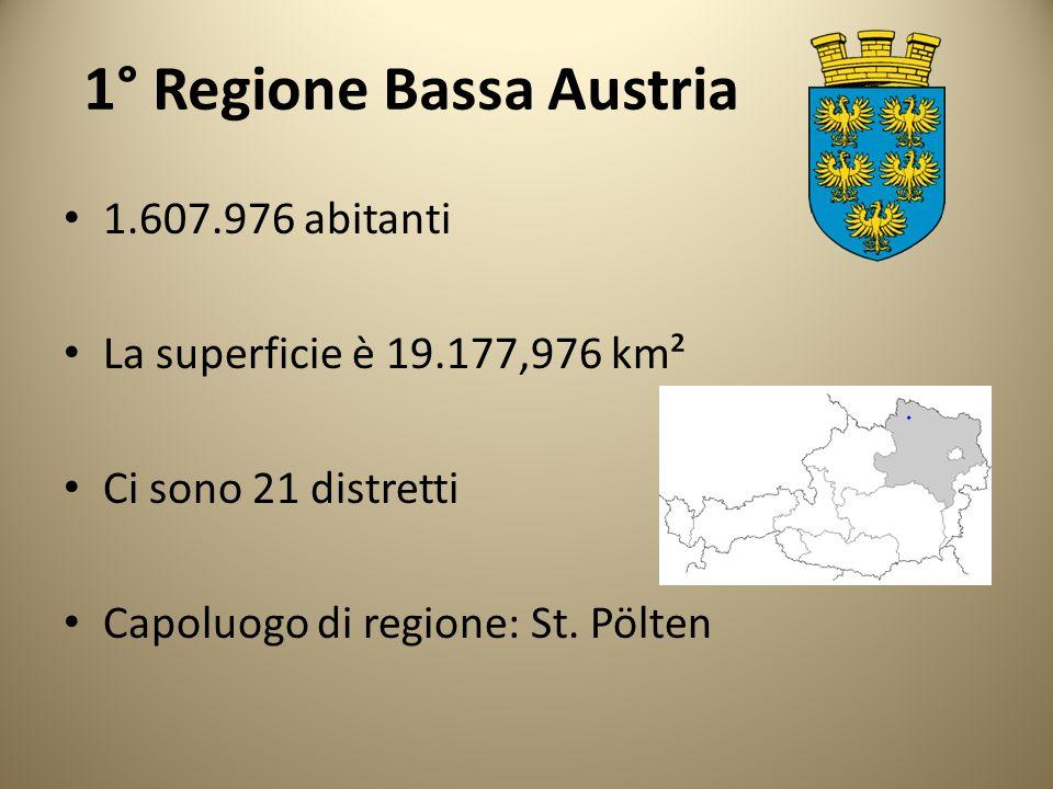 1° Regione Bassa Austria 1.607.976 abitanti La superficie è 19.177,976 km² Ci sono 21 distretti Capoluogo di regione: St. Pölten