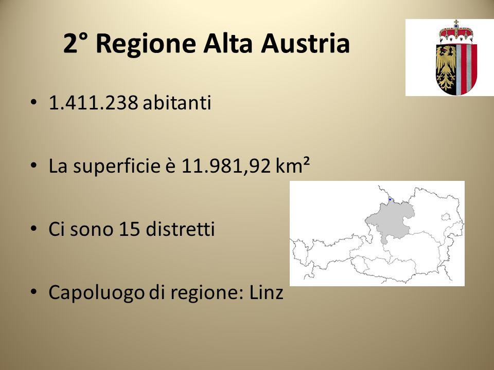 2° Regione Alta Austria 1.411.238 abitanti La superficie è 11.981,92 km² Ci sono 15 distretti Capoluogo di regione: Linz