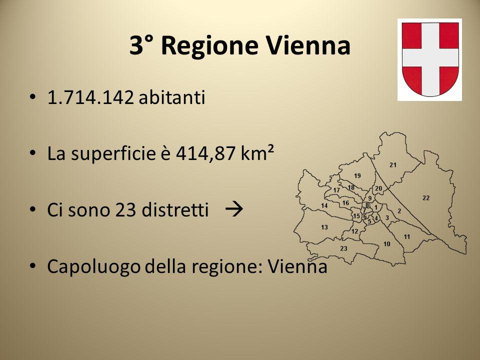 4° Regione Salisburgo 147.571 abitanti La superficie è 65,678 km² Ci sono 6 distretti Capoluogo di regione: Salisburgo Salisburgo è conosciuta anche come la città di Mozart