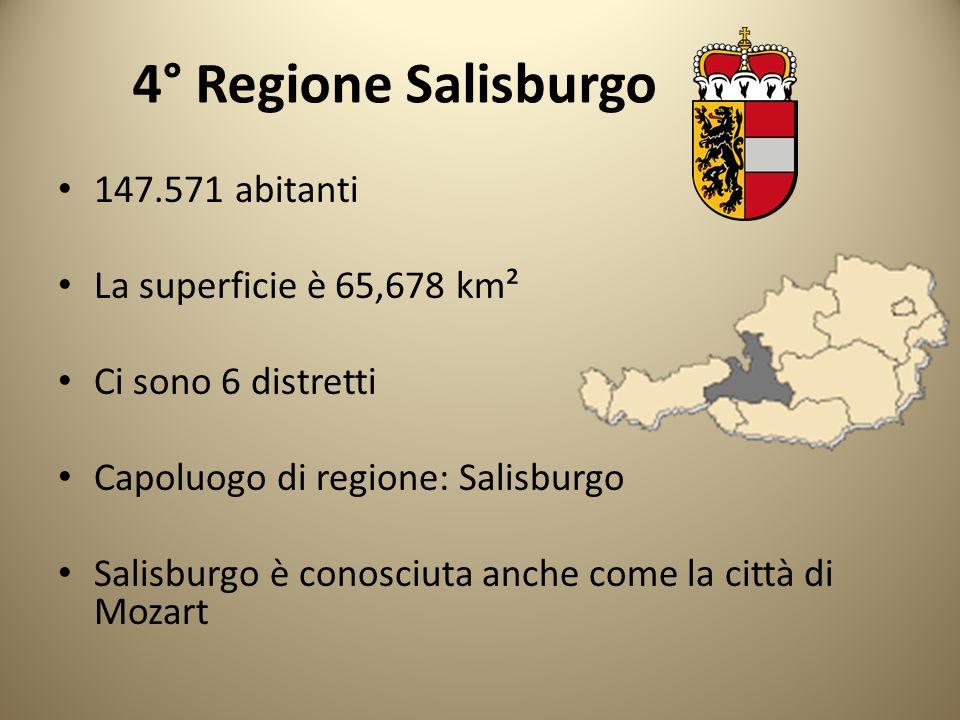 4° Regione Salisburgo 147.571 abitanti La superficie è 65,678 km² Ci sono 6 distretti Capoluogo di regione: Salisburgo Salisburgo è conosciuta anche c