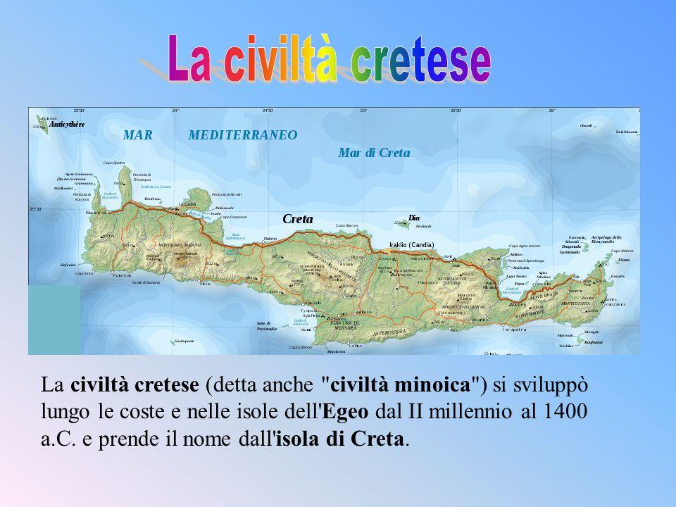 La civiltà cretese si basava prevalentemente sull agricoltura, grazie al fertile suolo delisola che produceva olio, grano e vino in abbondanza, e sul commercio marittimo.