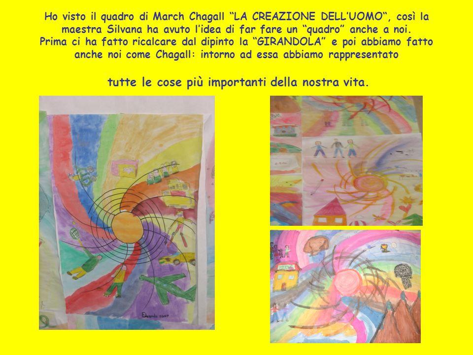 Ho visto il quadro di March Chagall LA CREAZIONE DELLUOMO, così la maestra Silvana ha avuto lidea di far fare un quadro anche a noi. Prima ci ha fatto