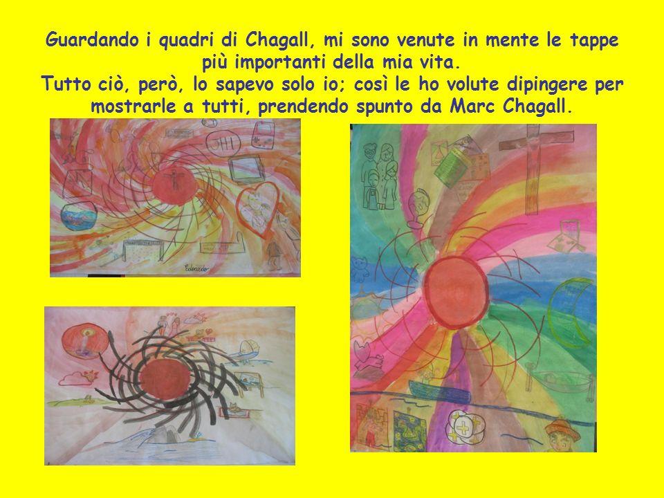 Guardando i quadri di Chagall, mi sono venute in mente le tappe più importanti della mia vita. Tutto ciò, però, lo sapevo solo io; così le ho volute d