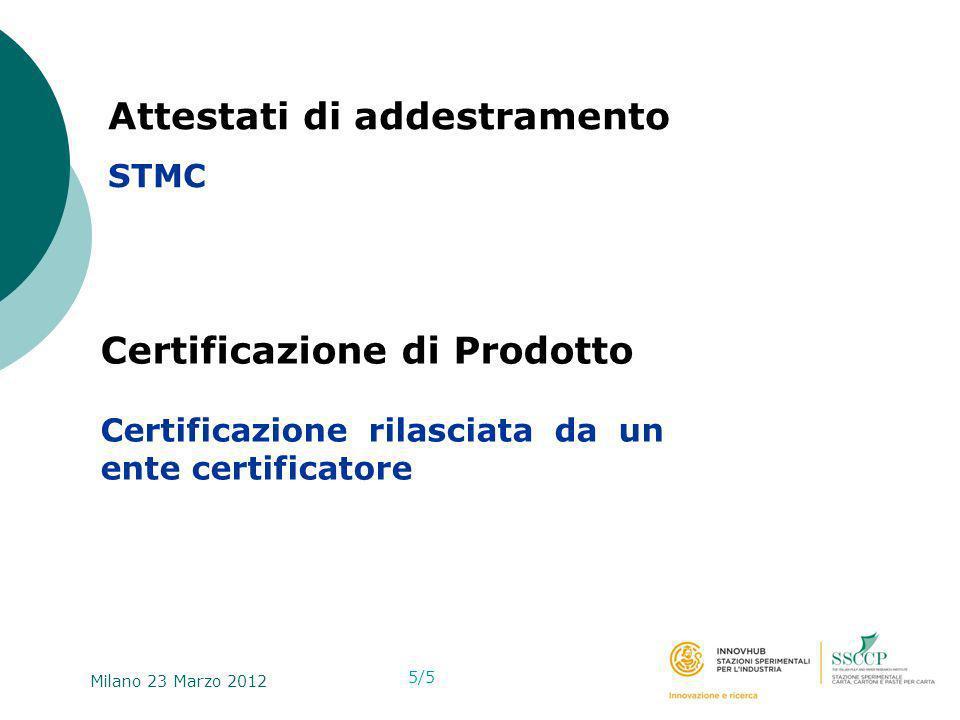 Milano 23 Marzo 2012. …………………………………………………… Attestati di addestramento STMC 5/5 Certificazione di Prodotto Certificazione rilasciata da un ente certifi