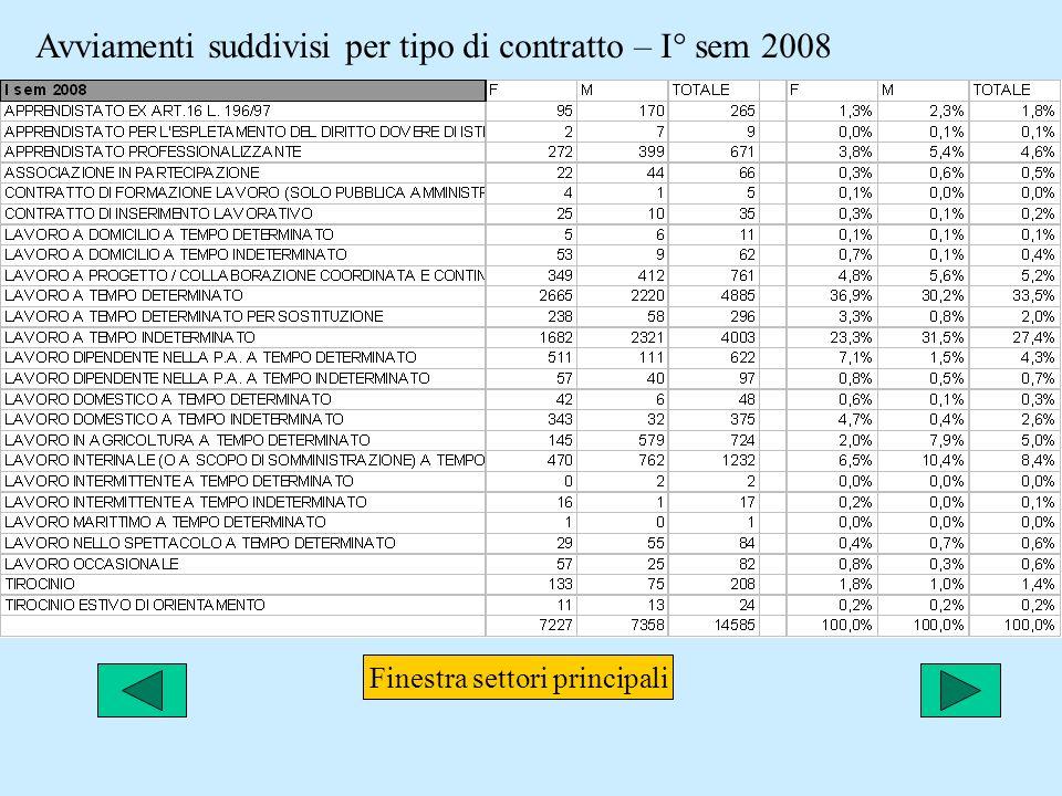 Avviamenti suddivisi per tipo di contratto – I° sem 2008 Finestra settori principali