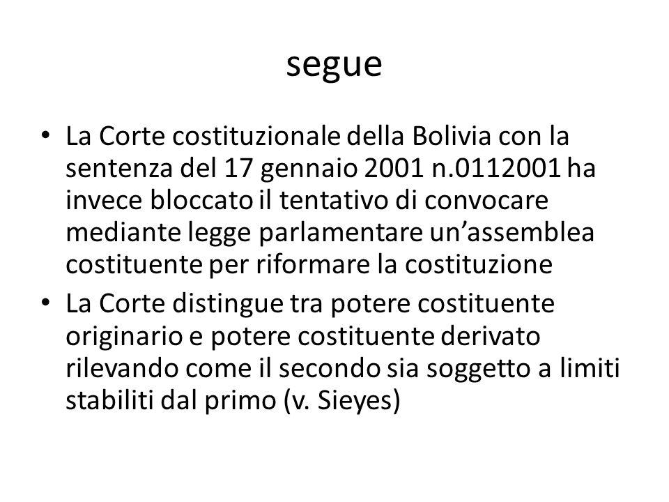 segue La Corte costituzionale della Bolivia con la sentenza del 17 gennaio 2001 n.0112001 ha invece bloccato il tentativo di convocare mediante legge