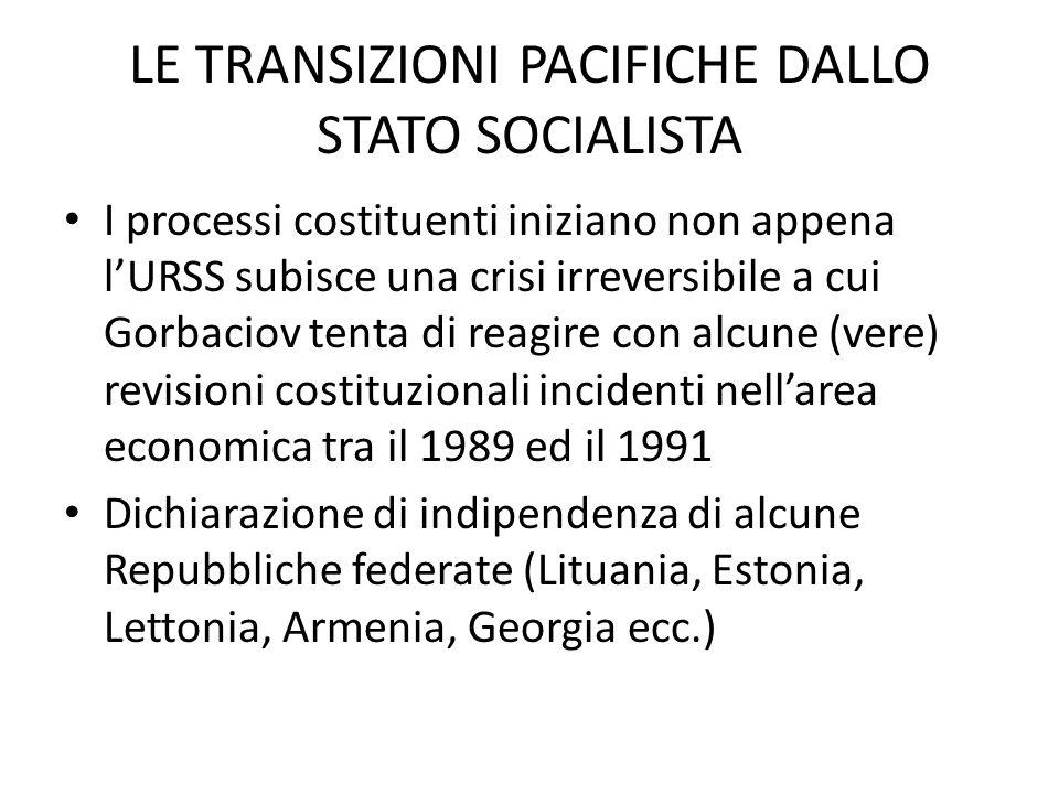 LE TRANSIZIONI PACIFICHE DALLO STATO SOCIALISTA I processi costituenti iniziano non appena lURSS subisce una crisi irreversibile a cui Gorbaciov tenta